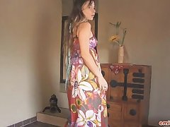 Hippie dress on stripping teen