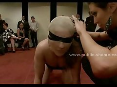 Slut with eyes covered in group fuck