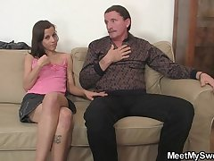 Depressed girl have oral fun with her BF'_s parents
