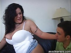 Mistress moans loud as man licks her ass hole
