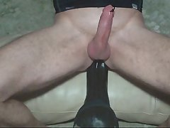 HUGE dildo anal fuck and cum