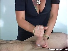 Mistress extracts loads of cum from naked man
