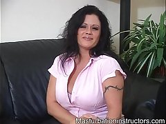 Mistress teases horny females using her gigantic breasts
