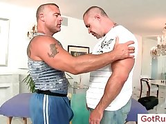 Muscled mature man gets massaged by GotRub