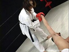 Petite mistress is powerful as she defeated a weak masked attendant