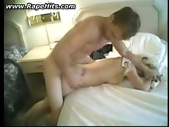 Girl brutally fucked on a bed in hotelroom