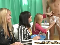 Video of guy getting shaved by cfnm babes