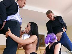 Two couples arrange swinger sex in the living room