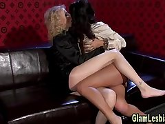 Posh lesbians get dirty with spanking