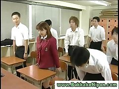 Real japanese school girl gets bukkake in amateur gangbang