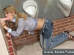Classy blonde blasted with fake cum in rest room