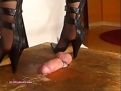 Beneath Indian Blooper Julie Singla'_s Soles who tramples cock with heeljob