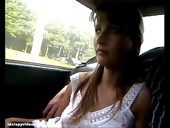 A busty sexy blonde chick has sex in car--- FULL video at camstripclubs.com