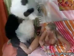 Toypanda approaches teen from the rear