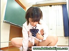 Dilettante asian babe gets pussy licked and bukkake in reality sex