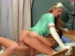 Blonde nurse fucking in latex gloves and stockings